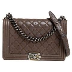 Chanel Dark Beige Quilted Leather New Medium Boy Flap Bag
