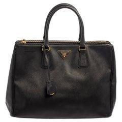 Prada Black Saffiano Lux Leather Large Galleria Tote