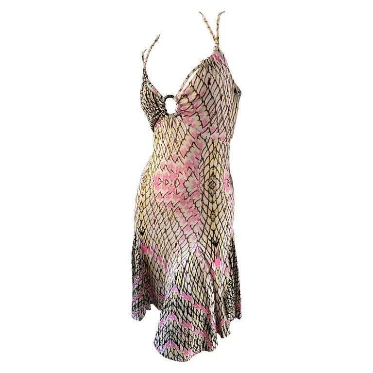 Roberto Cavalli for Just Cavalli Reptile Print Mini Dress with Skater Skirt