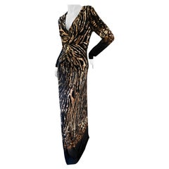 Roberto Cavalli Tiger Print Long Sleeve Evening Dress with Plunging Neckline