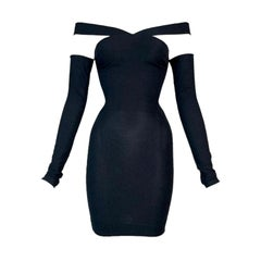 S/S 1991 Dolce & Gabbana Runway Black Bodycon Off Shoulder Mini Dress