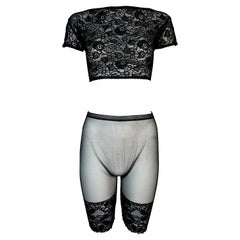 Vintage 1994 Gianni Versace Sheer Black Lace Crop Top & High Waist Shorts