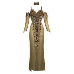 F/W 1992 Chanel Haute Couture Attributed Sheer Gold Choker High Slits Dress