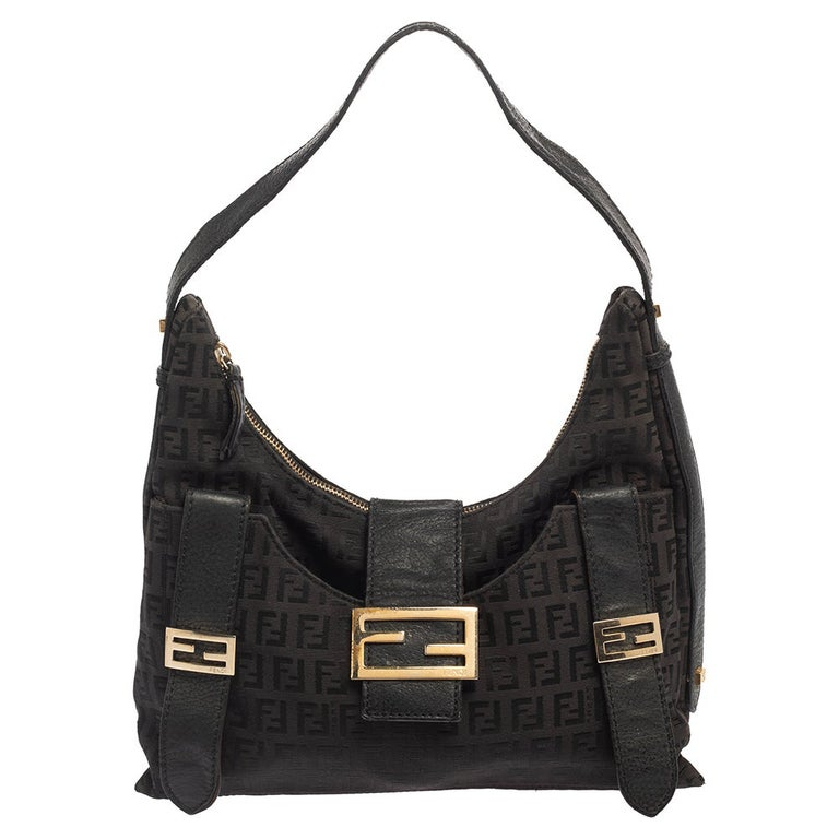 Fendi Brown Zucchino Canvas and Leather Flap Hobo For Sale