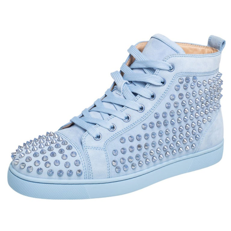 Christian Louboutin Blue Suede Louis Spikes High Top Sneakers Size 41