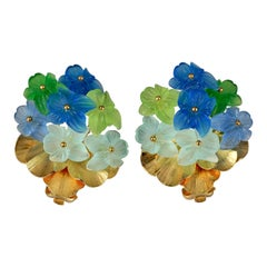 Vintage 1968 CHRISTIAN DIOR Lucite Bouquet Flower Earrings