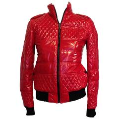 Chanel Red Shiny Quilted Bomber Jacket