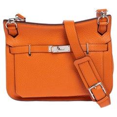 Hermes Orange Taurillon Clemence Leather Jypsiere 28 Bag
