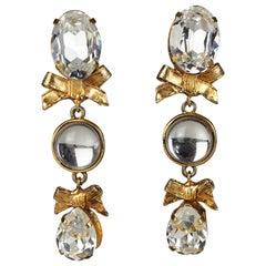 Vintage EMANUEL UNGARO 3 Tiered Jewelled Ribbon Dangling Earrings