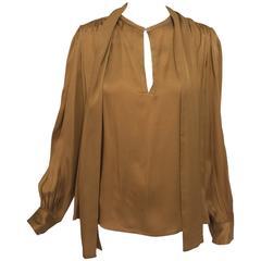 Yves St Laurent Rive Gauche tobacco silk tie front blouse 1970s