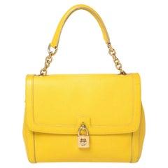 Dolce & Gabbana Yellow Leather Padlock Top Handle Bag