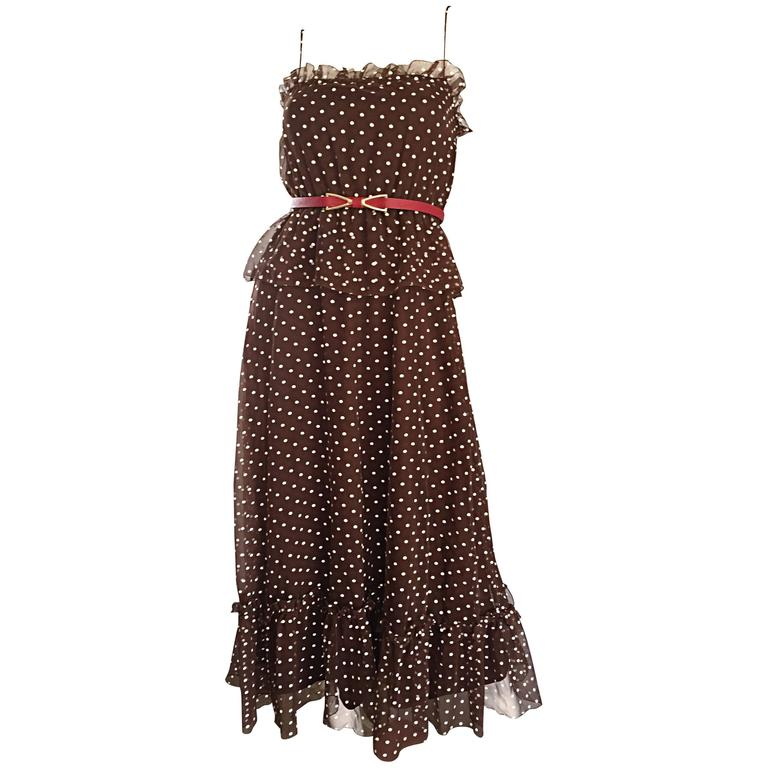 Vintage Pat Richards for Bullocks Wilshire Brown & White Polka Dot Belted Dress