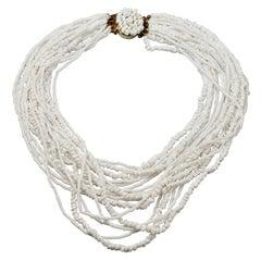 Vintage 1965 CHRISTIAN DIOR Multi Strand Milk Glass Beads Necklace