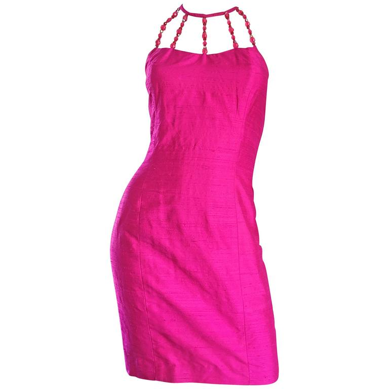 Sexy Vintage Nicole Miller 1990s Hot Pink Fuchsia Bodycon Silk Beaded Cage Dress 1