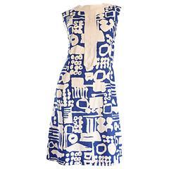 Rare Arthur's Originals 1960s Cerulean Blue Tribal Print 60s Linen Shift Dress