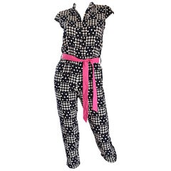 Amazing Vintage 80s Houndstooth and Star Print Navy White Jumpsuit w/ Pink Belt