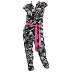 Amazing Vintage Houndstooth and Star Print Navy + White Jumpsuit w/ Pink Belt