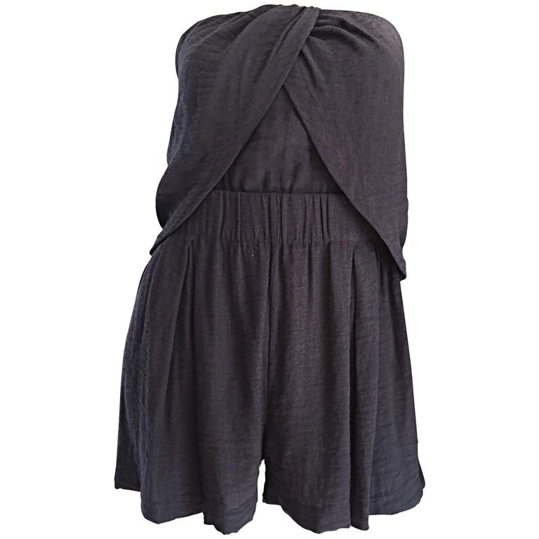 New Elizabeth and James Charcoal Gray Draped Romper Playsuit / Onesie  1