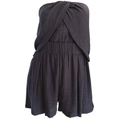 New Elizabeth and James Charcoal Gray Draped Romper Playsuit / Onesie