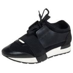 Balenciaga Black Leather, Suede, Mesh Race Runner Sneakers Size 37