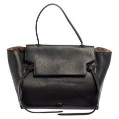 Celine Black Leather Mini Belt Top Handle Bag
