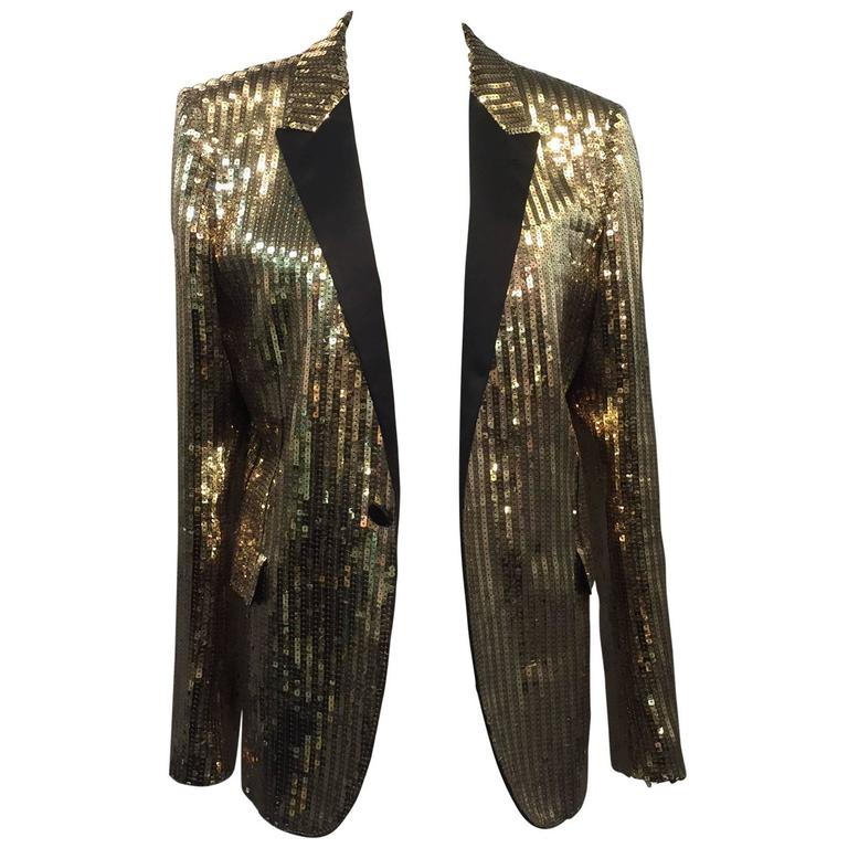 Saint Laurent Men's Gold Sequin Tuxedo Jacket w/ Satin Lapels For Sale