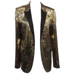 Saint Laurent Men's Gold Sequin Tuxedo Jacket w/ Satin Lapels