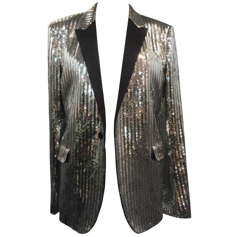 Saint Laurent Silver Sequin Men's Tuxedo Jacket w/ Satin Lapels For Sale