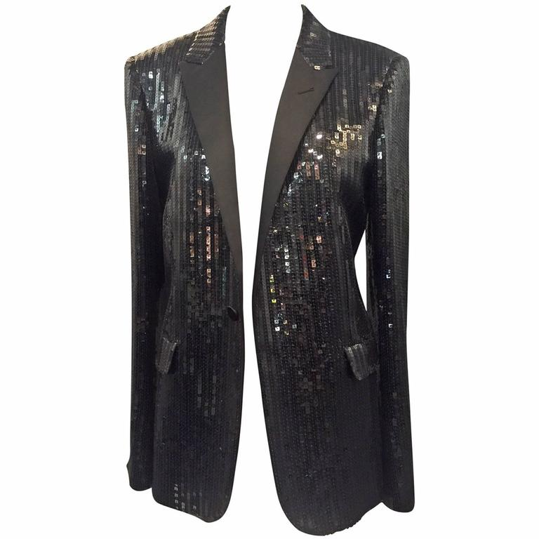 Saint Laurent Black Sequin Tuxedo Jacket with Satin Lapels