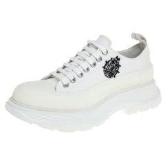 Alexander McQueen White Canvas Tread Low Top Sneakers Size 39.5