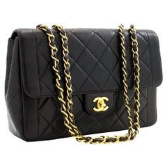 CHANEL Vintage Chain Shoulder Bag Black Flap Quilted Lambskin