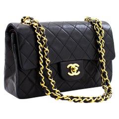 """CHANEL 2.55 Double Flap 9"""" Chain Shoulder Bag Lambskin Black Quilt"""