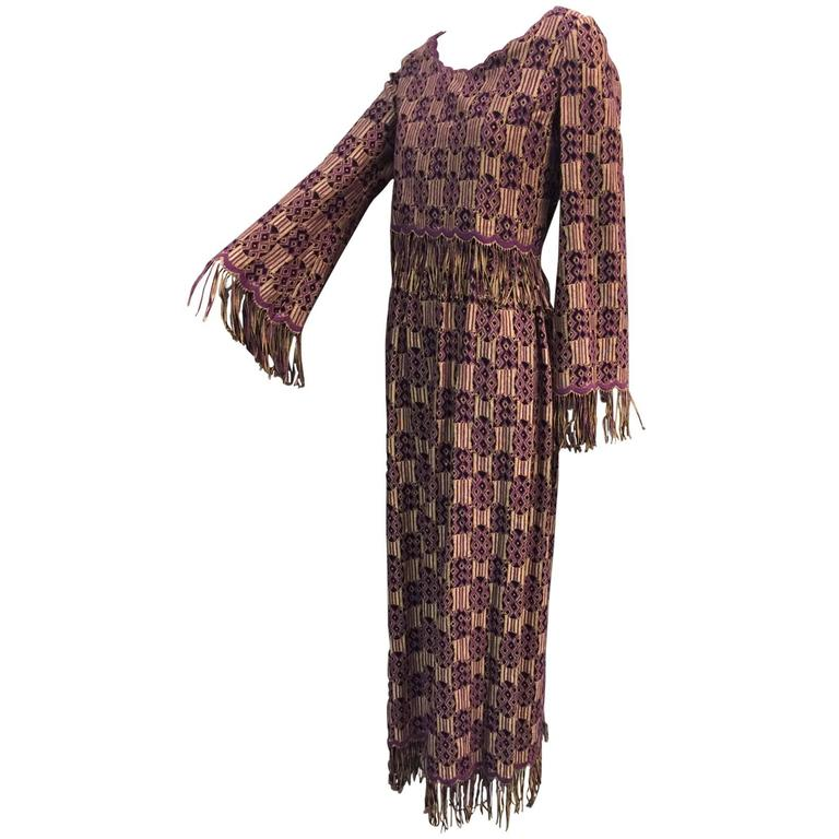 Late1960s Christian Dior Ethnic-Inspired Brocade and Fringe Maxi Dress