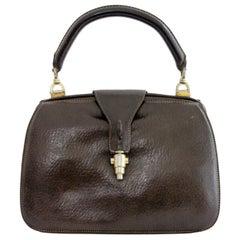 Gucci Brown Leather Rigid Bag Jackie Vintage 1950's