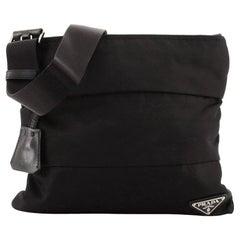 Prada Zip Messenger Bag Horizontal Quilt Tessuto Small