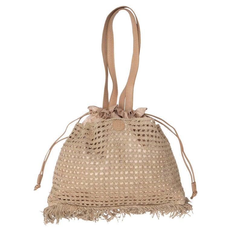 Fendi Beige Metallic Crochet Drawstring Bag For Sale