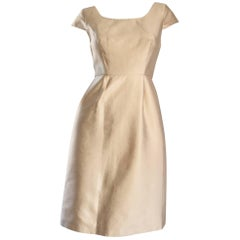 Badgley Mischka Light Gold Fit and Flare 50s Style Flattering Silk Dress