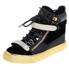 Giuseppe Zanotti Black Velvet Crystal Strap High Top Sneakers Size 35