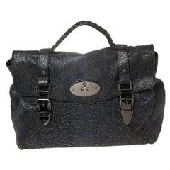 Mulberry Metallic Blue/Black Textured Leather Alexa Satchel