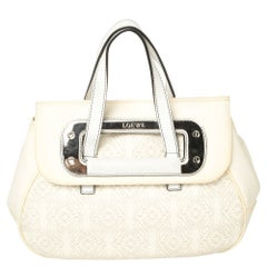 Loewe Off White Anagram PVC and Leather Cut Out Flap Satchel