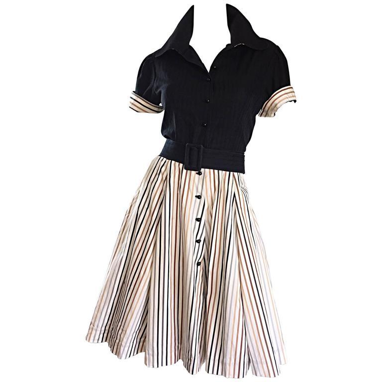 Al's Attire 1990s does 1950s Vintage Black Rockabilly Pinstripe Shirt Dress 1