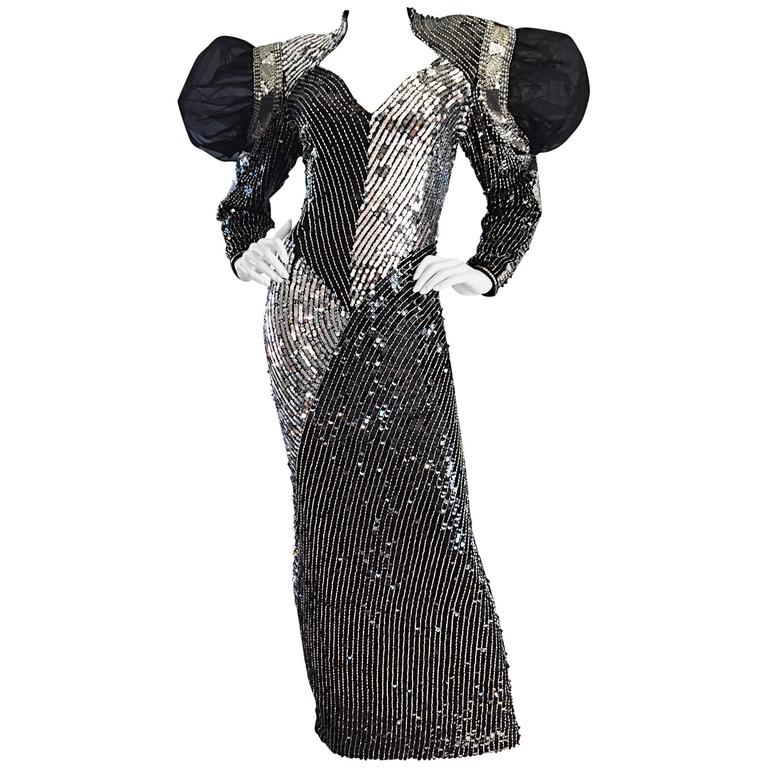 Amazing VIntage Avant Garde Black + Silver Sequin and Beaded Silk ...
