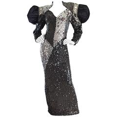 Amazing VIntage Avant Garde Black + Silver Sequin & Beaded Silk Couture Gown