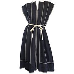 Vintage Pauline Trigere Black and White Avant Garde Striped Dress w/ Belt