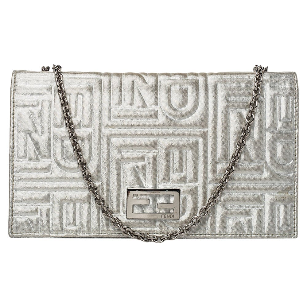 Fendi Metallic Silver Logo Embossed Leather Wallet On Chain