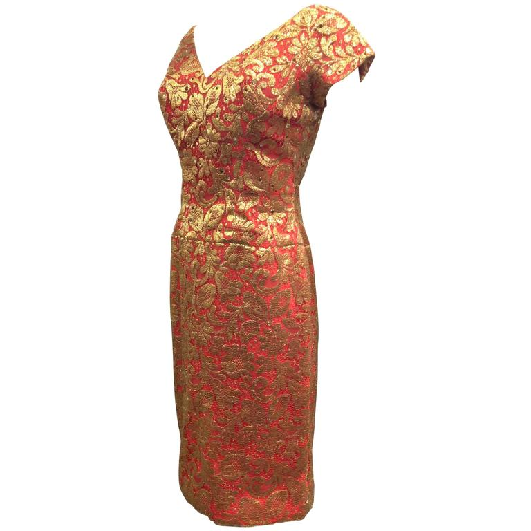 1950s Red Sheath Dress with Beautiful Gold Lame Lace Overlay and Crimson Stones For Sale