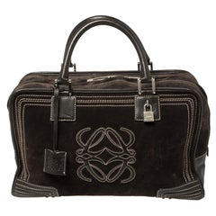 Loewe Dark Brown Suede and Leather Amazona Satchel