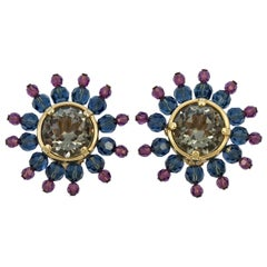 Swarovski Gold Plated Muted Pink Blue Gold Star Burst Crystal Clip On Earrings