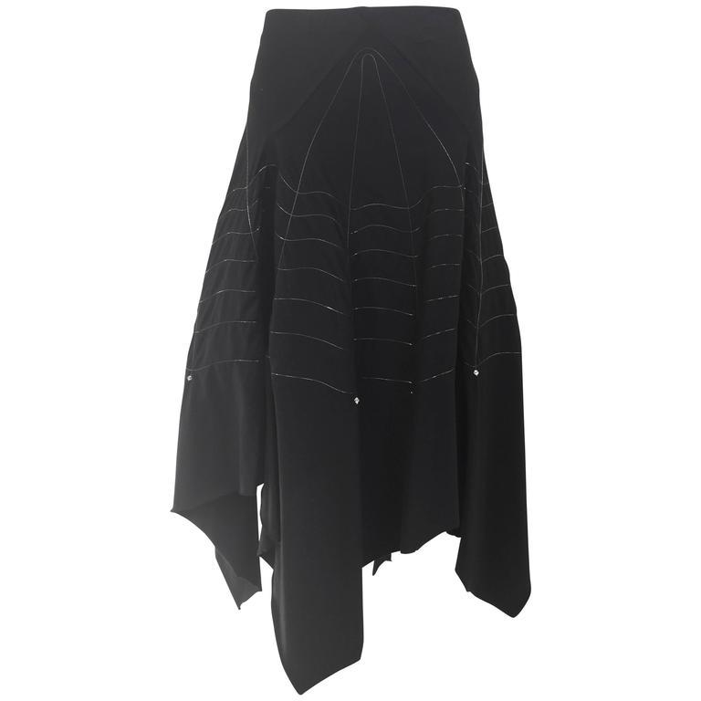 "90s Issey Miyake "" spider web"" knit skirt"