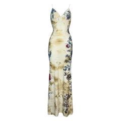 2002 Roberto Cavalli Tiger Tattoo Nylon Bodycon Maxi Dress